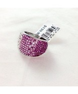 Purple & White Ombré Crystal Cocktail Stainless Steel Dome Ring Size 8 NWT - $39.00