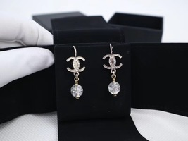 100% AUTH NEW CHANEL Silver CC Crystal Dangle Drop Earrings