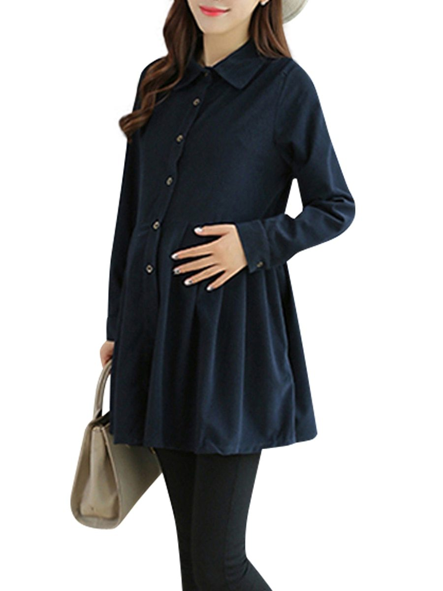 Maternity Dress Solid Color Long Sleeve Shirt Dress image 3