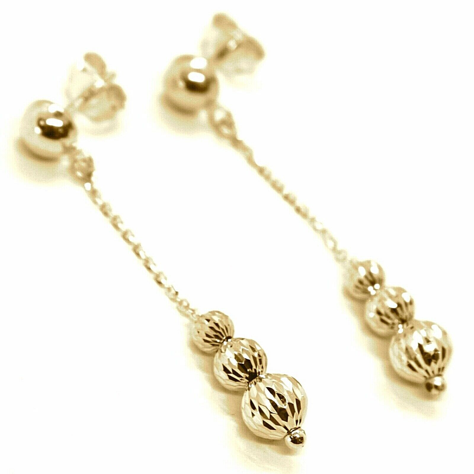 18K YELLOW GOLD PENDANT EARRINGS THREE FACETED WORKED BALLS SPHERES