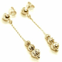 18K YELLOW GOLD PENDANT EARRINGS THREE FACETED WORKED BALLS SPHERES image 1