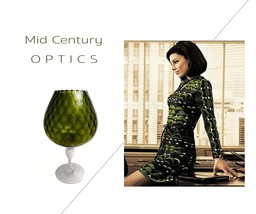 FENTON XLARGE Olive DIAMOND OPTIC Brandy Snifter Vase 1950s Mid Century Mod image 4