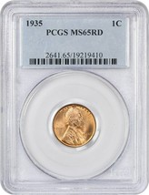 1935 1c PCGS MS65 RD - Lincoln Cent - $33.95