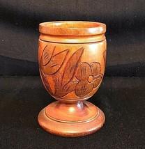 RUSTIC WOOD GOBLET, Hand Carved Floral and Diamond Design, VINTAGE - $14.36
