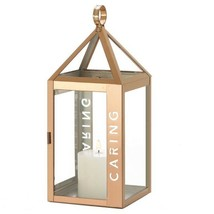 "Sleek Candle Lantern Rose Gold w/ Caring Etched on Side 17.5"" High - $34.60"
