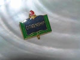 Estate Blue Green & Red Enamel Open Book with Torch Goldtone CITIZENSHIP... - $8.59