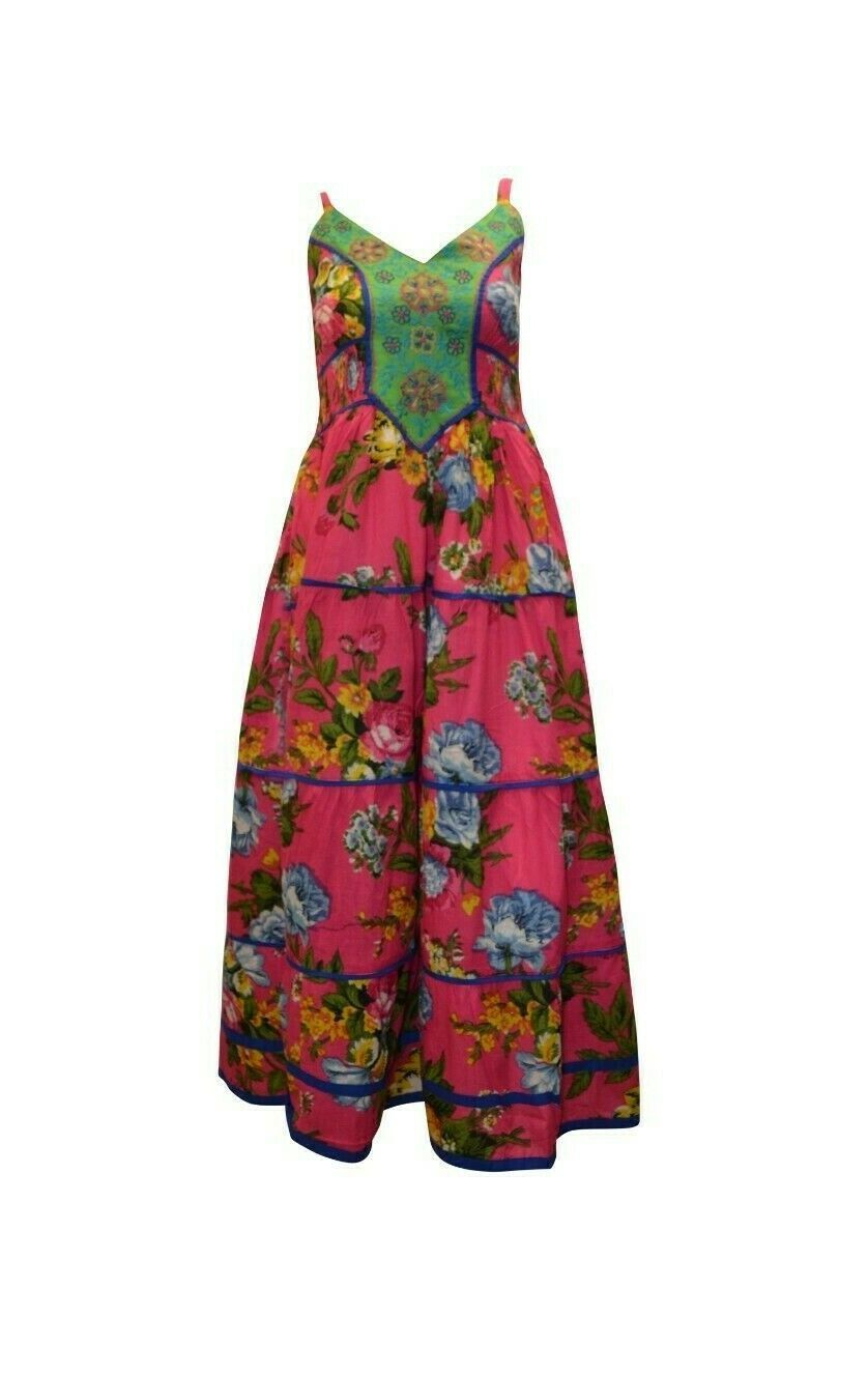 Primary image for COTTON BOHO HIPPIE VINTAGE SLEEVELESS FRONT EMBROIDERED FLORAL MAXI DRESS P6