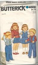 4002 Vintage Butterick Sewing Pattern Girls Vest Shirt Skirt Pants 4 1980s OOP - $6.92