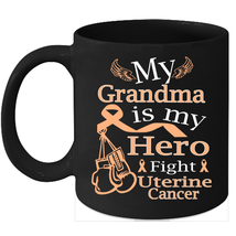 Uterine cancer 11oz coffee mug Fight Peach Ribbon for my Grandma - $15.95