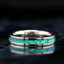 Green Opal Ring Tungsten Wedding Band - Free Engraving - $89.99