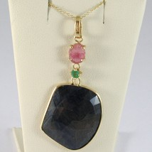 9K YELLOW GOLD NECKLACE AND PENDANT, ROUND BLUE AND OVAL PINK SAPPHIRE, PERIDOT image 1