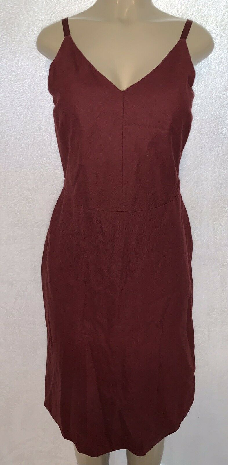 Primary image for Old Navy Women's Garnet Burgundy Linen Spaghetti Strap Long Dress Size 8 Boho