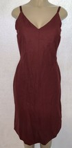 Old Navy Women's Garnet Burgundy Linen Spaghetti Strap Long Dress Size 8... - $14.99