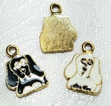EPOXY DOG FINE PEWTER PENDANT CHARM  17x12x1mm image 1