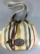 Fossil Striped Canvas Shoulder Drawstring Bucket Bag Handbag w Key Multi-Color - $53.41