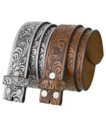 "Western Floral Embossed Bonded Leather Belt Strap, 1-1/2"" Wide - $9.85+"