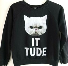 "Forever 21 Womens-Teens Cat Pullover Sweatshirt, ""Cat It Tude"" Sweater, ... - $17.81"