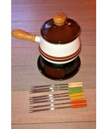 Fondue Set with 8 Forks Vintage MOD 70's by O. Browne & Co.  Montreal, C... - $19.99