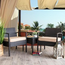 Barton Wicker Outdoor Bistro Set 1-Square Side Table 2-Chair Cream Cushions - $172.85