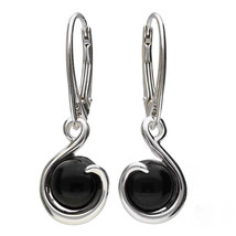 MILENA Drop Earrings Silver and Round Onyx - $54.00