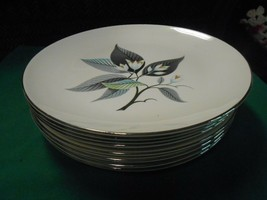 "Beautiful HOMER LAUGHLIN ""Rhythm"" Set of 8 DINNER Plates - $56.02"