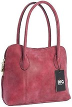 Big Handbag Shop Womens Faux Distressed Effect Leather Satchel Bag (Red) - $52.96