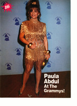 Paula Abdul Fred Savage teen magazine pinup clipping gold sparkly dress Grammy's