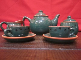 Boyds Bears Potteryworks Teaset #654600  Dark Green in box Emily's Teaset - $26.23