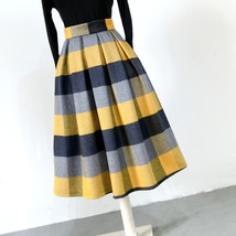 Women Yellow Plaid Pleated Skirt High Waist Winter Wool Pleated Skirt Plus Size image 2
