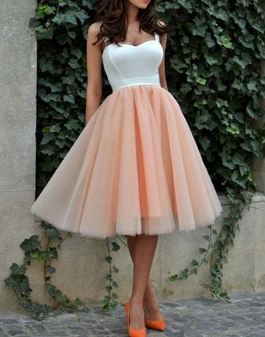 short blush pink tulle skirt prom dresses, simple homecoming dresses,BD172605