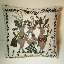 Holiday Tapestry Pillow Reindeer Christmas Plush Square Merry Happy Chee... - $14.52