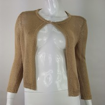 Talbots Womens Sz Small Brown Open Knit Cardigan Sweater Single Hook Closure EUC - $15.88