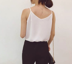 Women Sleeveless Strap Tank Top Camisole V Neck Chiffon Tanks Solid Loose Shirt  image 2