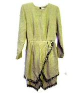 Expo Hunter Green & Tan Houndstooth Print Dress with Fringe Sz 8 - $47.49