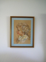 Vintage Signed Pastel Drawing Portrait of a Boy - $130.00