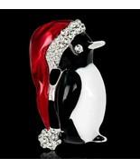 Vintage Look Silver Plated Diamante Linux Penguin Brooch Suit Coat Broac... - $15.43