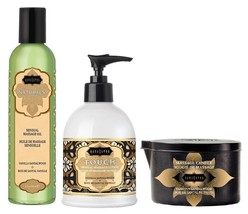 KamaSutra Naturals Massage Oil, Lotion and Candle - Vanilla Sandalwood 3... - $39.99