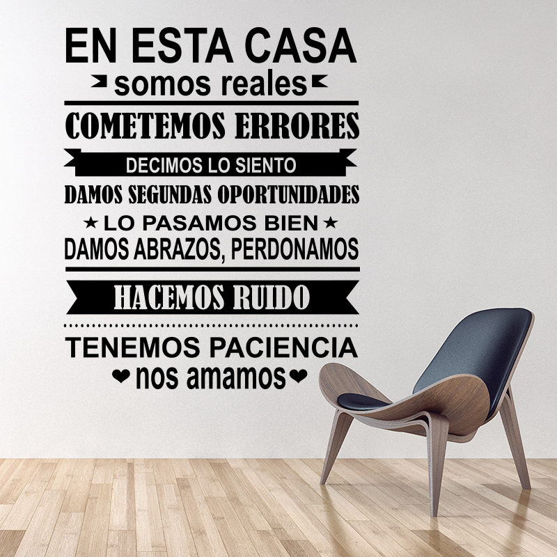 Spanish-EN-ESTA-CASA-House-Rules-Wall-Sticker-Home-decor-Family-Quote-house-Deco for sale  USA