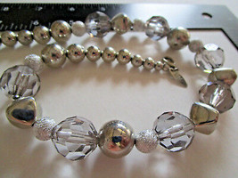 """Vintage NY 9"""" ICY-Cool NECKLACE Clear Faceted & Silver Metal BEADS w/3"""" ... - $9.99"""