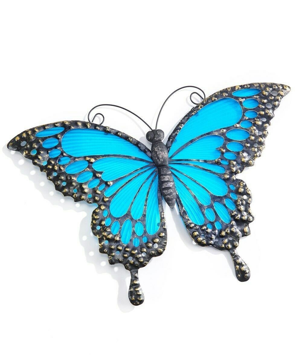 "17"" Blue Glass and Metal Butterfly Wall Decor"