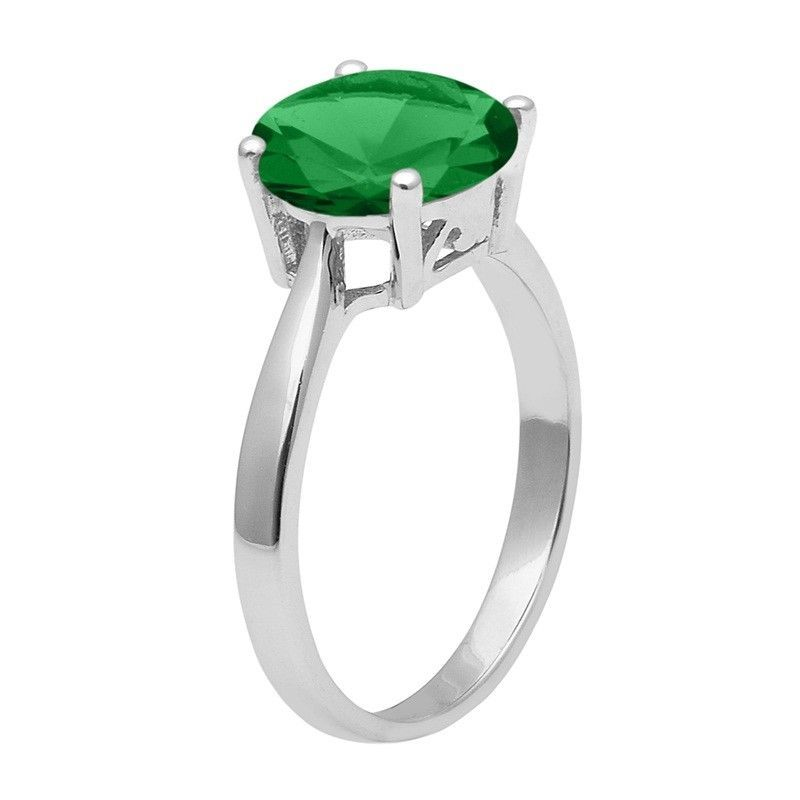 Green Cubic Zirconia 925 Sterling Silver Ring Shine Jewelry Size-9.5 SHRI1420