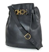 Auth SALVATORE FERRAGAMO Gancini Black Leather Shoulder Bag Purse #17456 - $259.00
