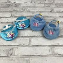 Build A Bear Slippers Lot of 2 Disney Princess Frozen & Fuzzy Blue With Crown - $11.64