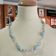 Necklace the Aluminium Long 60 Inch with Aquamarine Blue Blue image 2