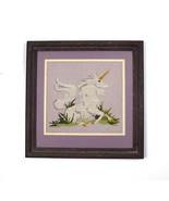 Vtg Framed Needlepoint Unicorn Lavender Wall Art Horse Textile Decor Dec... - $24.74
