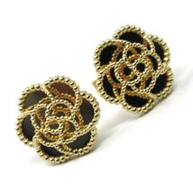 18K YELLOW GOLD BOTTON FLOWER DAISY EARRINGS 14 MM, DOUBLE LAYER WORKED MIRROR image 4
