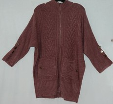 Simply Noelle Brand JCKT222SM Knitted Mauve Women's Zipper Jacket Size Small image 2