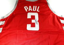 CHRIS PAUL / AUTOGRAPHED HOUSTON ROCKETS RED CUSTOM BASKETBALL JERSEY / COA image 1