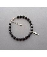 men's bracelet black lava and hematite with cross. - $21.00