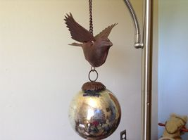 Window or Tree Ornament w Bird and Mercury style ball Vintage Look image 8
